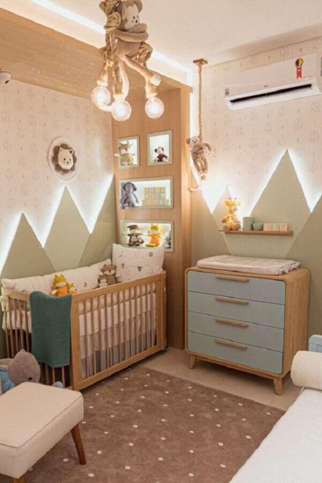 70. Como decorar um quarto de bebê moderno em tons pastéis – Foto: Grão de Gente