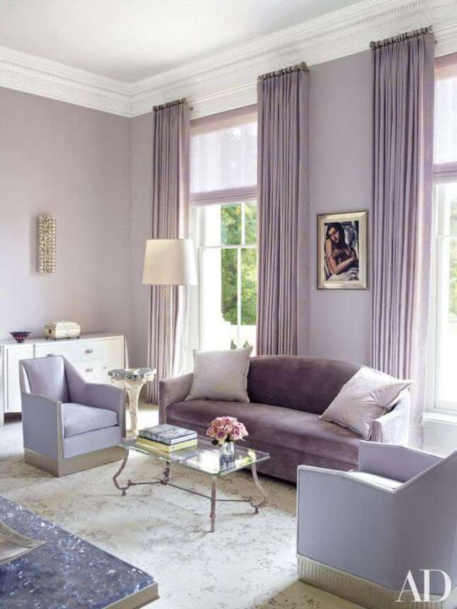 36. Decoração com cores de tinta para sala em lavanda – Foto Sofa Fine Arts