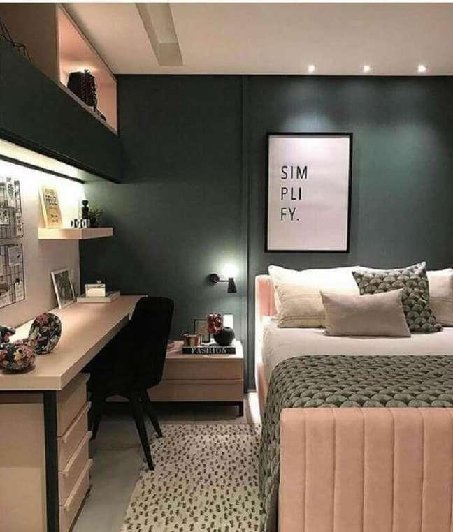 6. Como decorar um quarto feminino cinza e rosa moderno – Foto: Pinterest