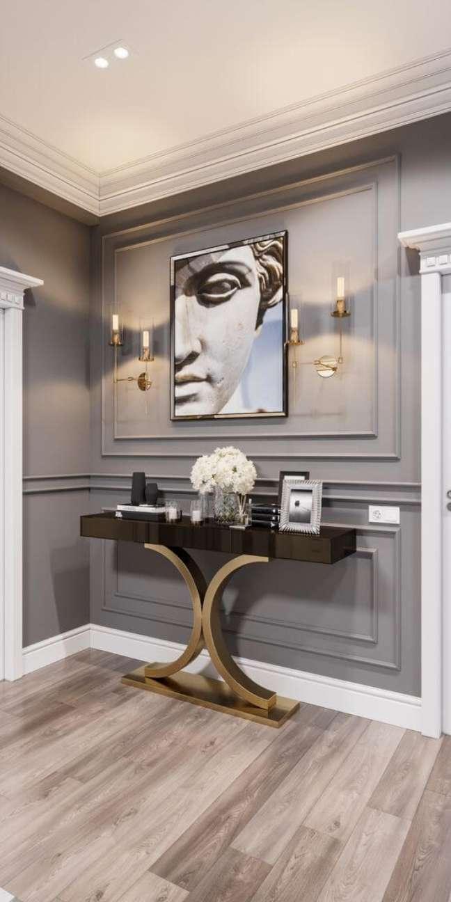 35. Decoração com cores de tinta para sala em cinza e móveis modernos – Foto 3ddd