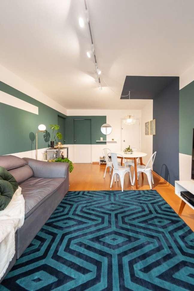 43. Decoração com cores de tinta para sala em verde e azul – Foto Pinterest