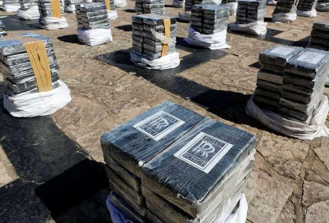 Apreensão de cocaína realizada pela polícia do Paraguai 28/07/2021 REUTERS/Cesar Olmedo