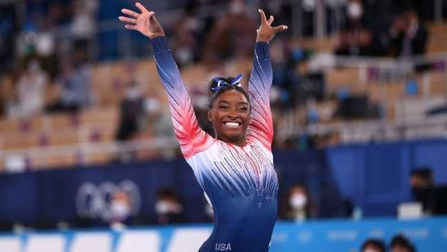 Simone Biles se apresenta na final da trave de equilíbrio nos Jogos de Tóquio 03/08/2021 REUTERS/Lindsey Wasson