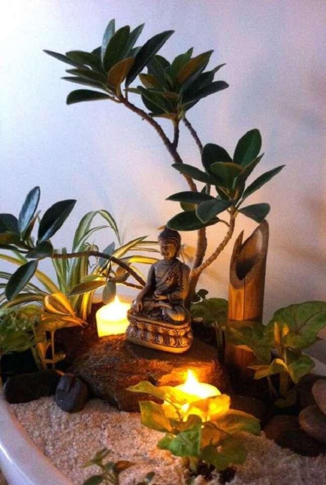 29. No projeto você pode criar um jardim zen com objetos de decoração indiana. Fonte: Pinterest