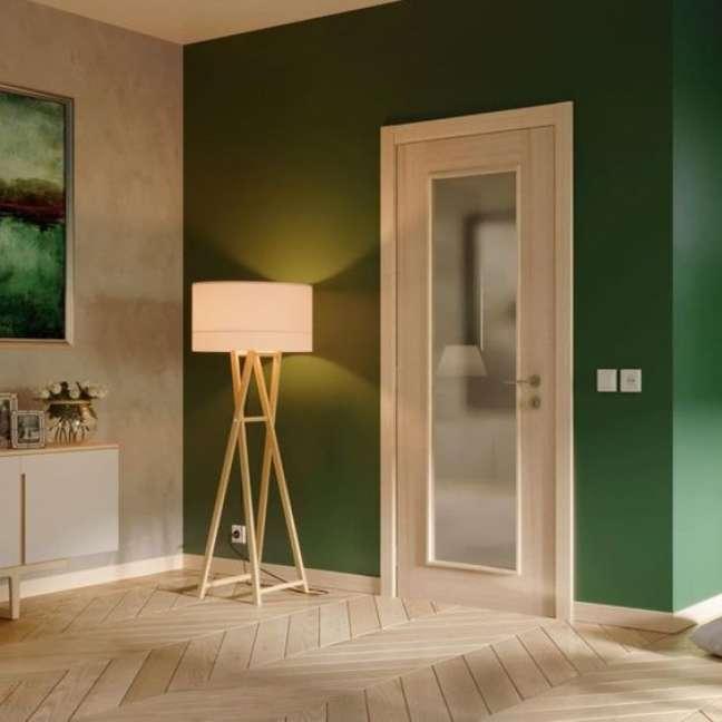 24. Cores de tinta para sala na cor verde e cinza – Foto Pinterest
