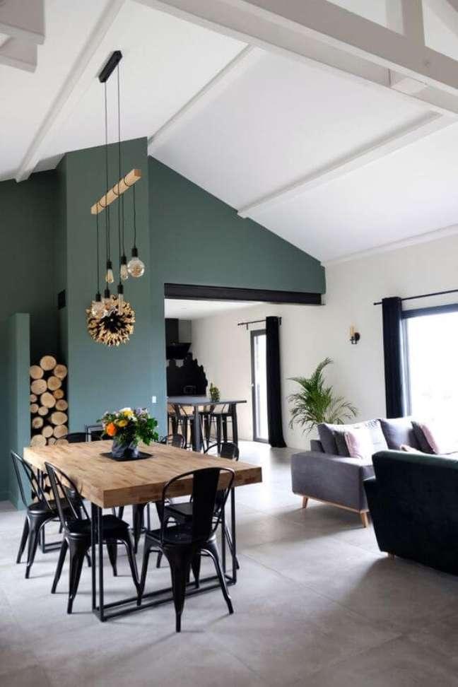 73. Sala de jantar com porcelanato cimento queimado e cores de tinta para parede verde – Foto Cote Maison