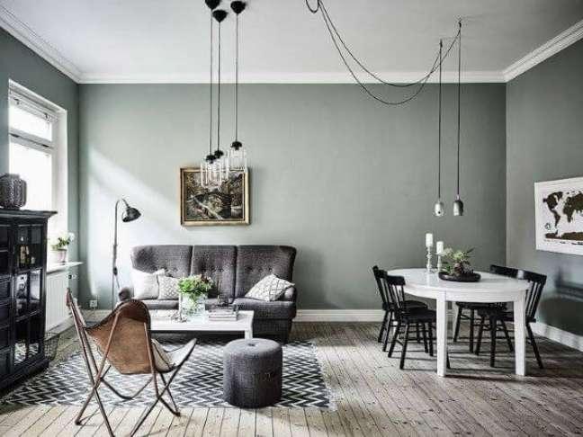 49. Decoração escandinava com cores de tinta para parede em tons de cinza e móveis brancos – Foto Pinterest
