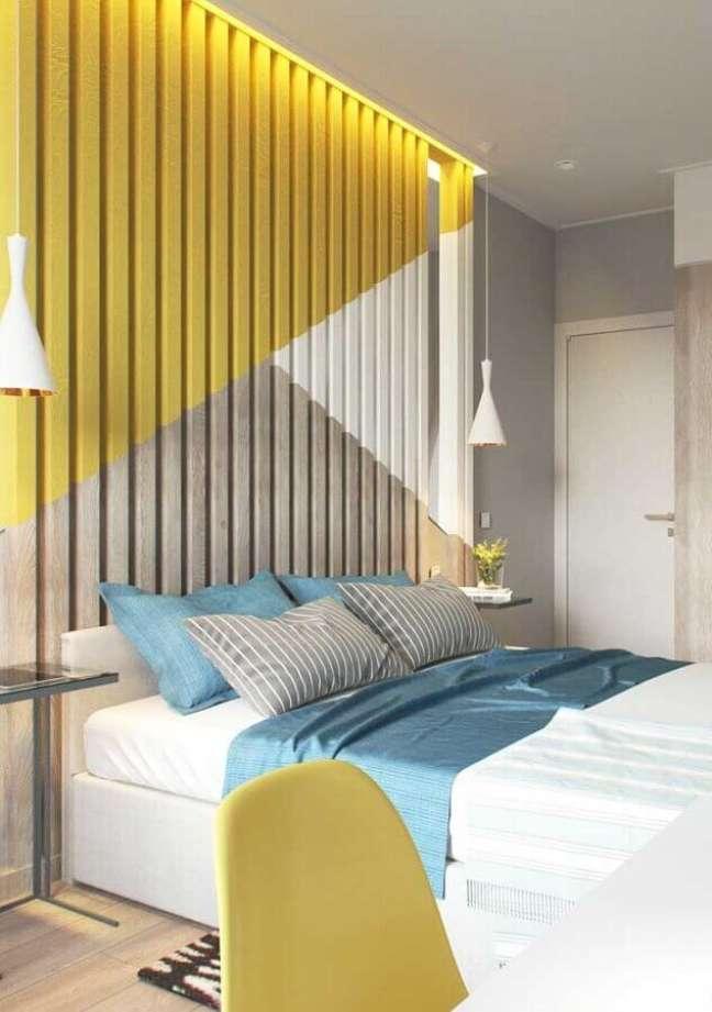 1. Como decorar um quarto de casal moderno com pintura geométrica para parede 3D – Foto: Futurist Architecture