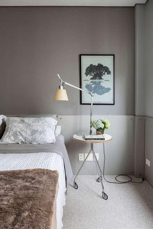 58. Como decorar um quarto cinza minimalista – Foto: Casa de Valentina