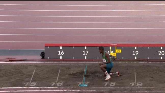 Mateus de Sá conseguiu um salto de 16.33m (Foto: Reprodução/SporTV)