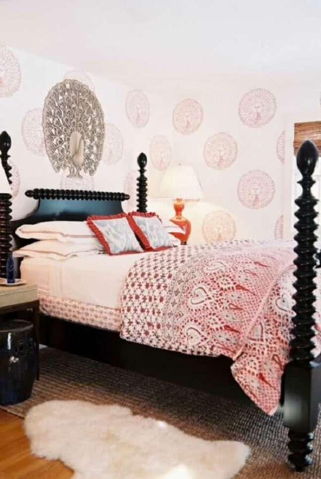 60. A decoração indiana aparece em diversos detalhes do quarto. Fonte: Pinterest