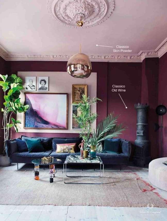 58. Sala azul marinho com cores de tinta para sala moderna na cor vinho – Foto Pure Original