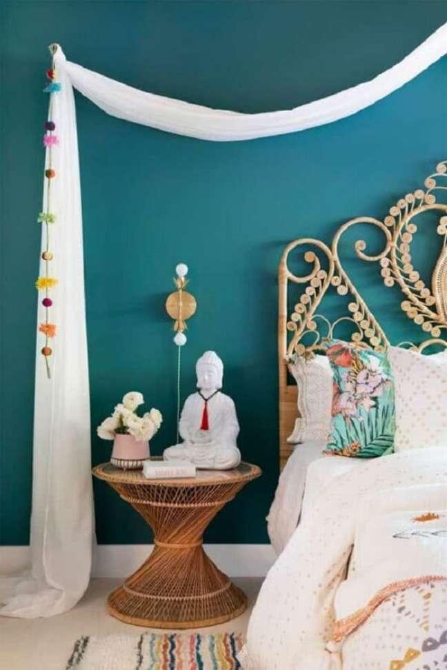 41. Decoração indiana de quarto leve e clean. Fonte: Pinterest