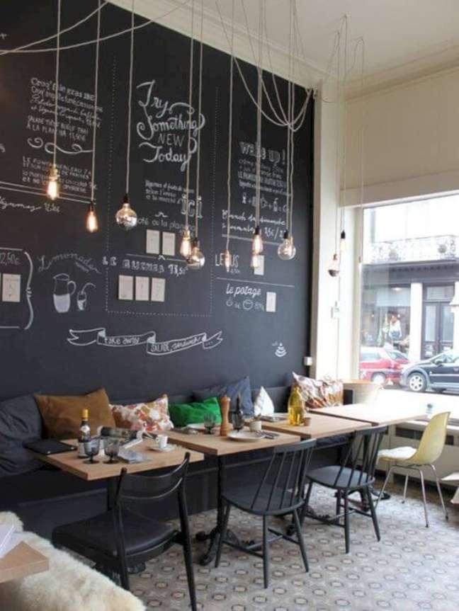 74. Sala de jantar com tinta lousa preta e iluminação de lampadas de filamento – Foto Pinterest