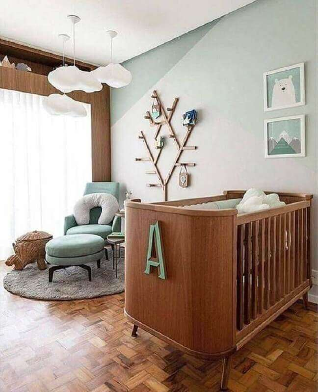 69. Como decorar um quarto de bebê moderno com lustre de nuvem – Foto: Pinterest