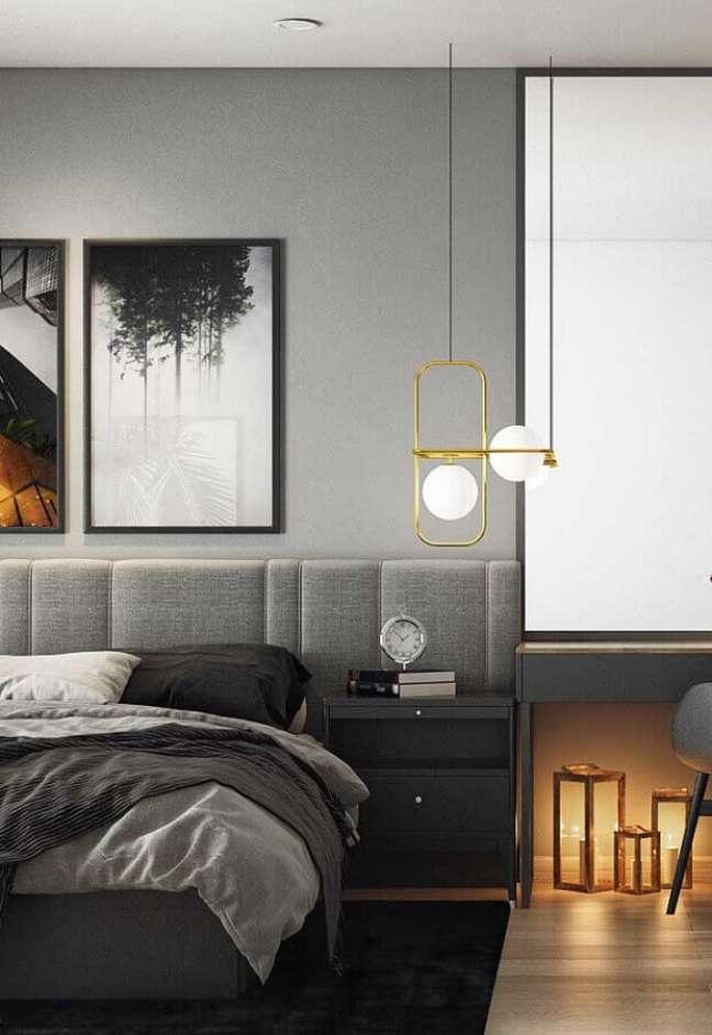 47. Como decorar um quarto moderno em tons de cinza com luminária dourada – Foto: Futurist Architecture