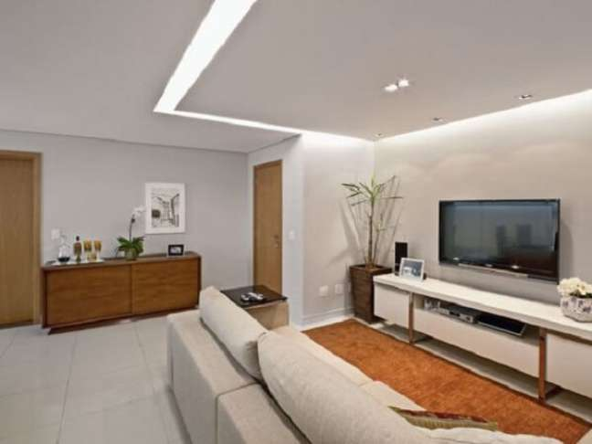 22. Decoração com gesso na sala de estar moderna – Foto Pinterest