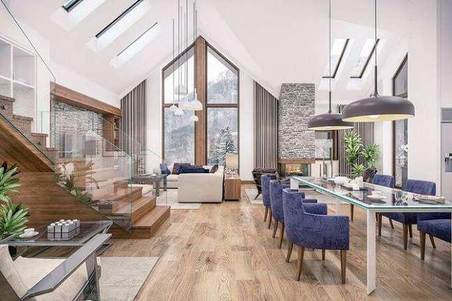 13. Carpete de madeira para sala de estar moderna – Foto Pinterest