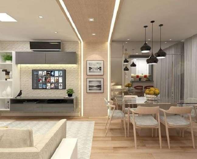 14. Decoração de gesso e luz para dividir ambientes pelo teto – Foto Pinterest