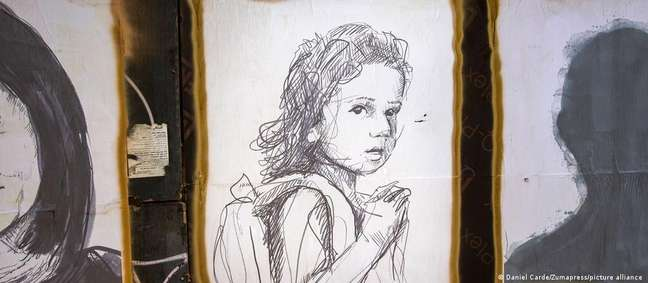 Em um muro de Beirute, o artista Brady Black deu um rosto às vítimas da explosão, inclusive a pequena Alexandra