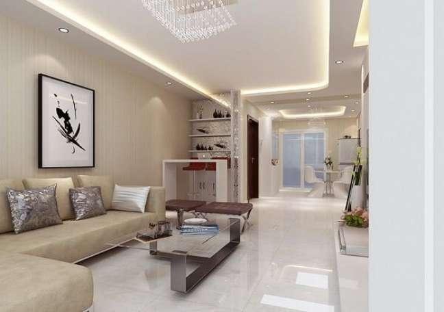 18. Sala de estar clean com teto decorado em gesso – Foto Pinterest