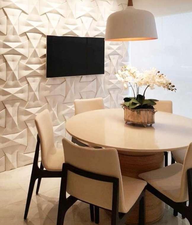 2. Decoração com gesso na sala de jantar na parede – Foto Revestindo a casa