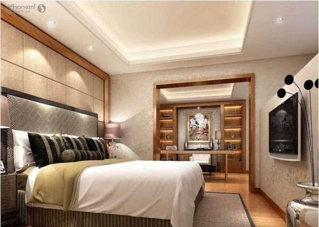 38. Decoração de gesso no teto do quarto aconchegante – Foto Total Construção