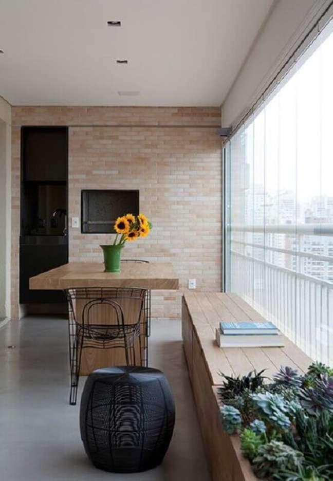 60. Revestimento tijolinho à vista para decoração de apartamento com varanda gourmet – Foto: Pinterest