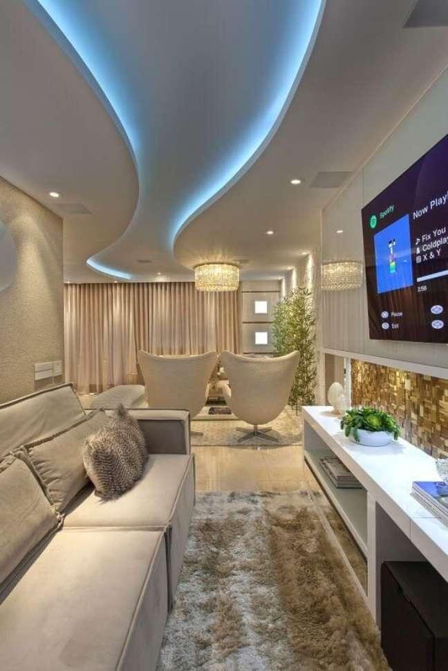 5. Decoração com gesso para sala de estar iluminada – Foto revista Vd