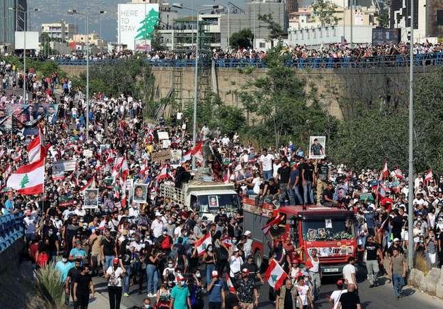 Líbano marca aniversário de um ano da explosão do porto de Beirute 04/08/2021 REUTERS/Mohamed Azakir