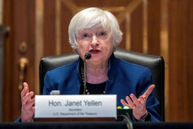 Janet Yellen, secretária do Tesouro dos EUA  23/06/2021 Shawn Thew/Pool via REUTERS