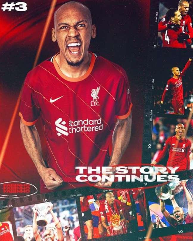 Fabinho renovou contrato para defender o Liverpool por mais cinco anos