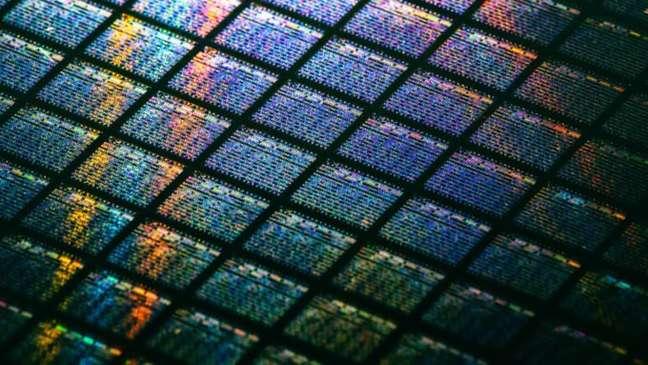 Detalhe de wafer de chips de silício