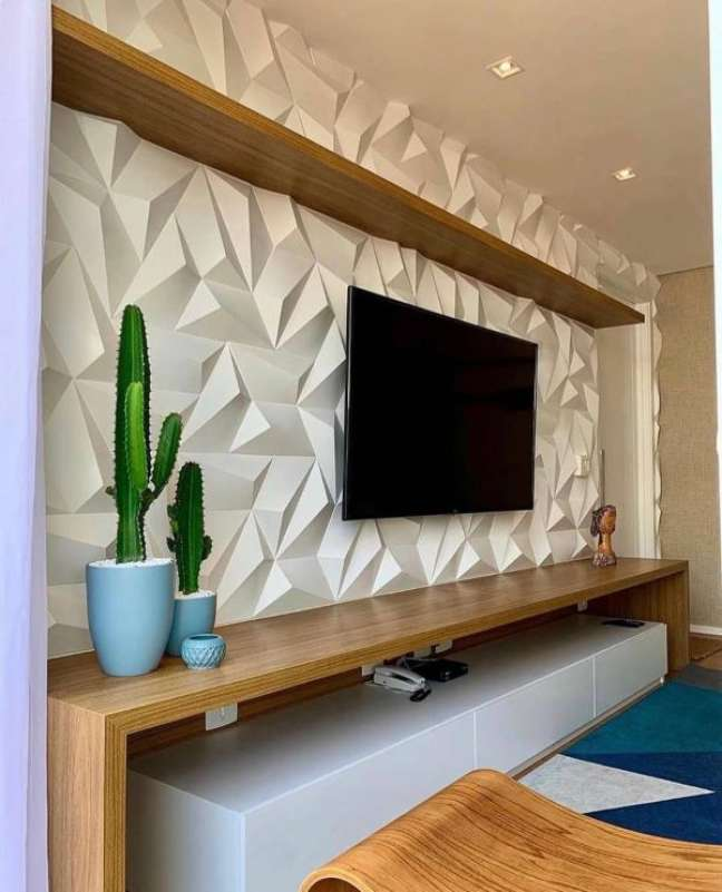 1. Decoração de gesso 3d para sala de estar moderna – Foto Pinterest