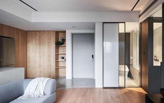 21. Decoração de gesso para teto de sala de estar moderna – Foto Pinterest