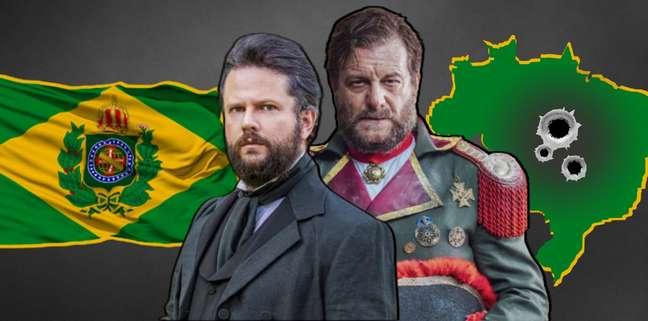O herói e o vilão: Dom Pedro II (Selton Mello) e general Solano López (Roberto Birindelli) vão digladiar pelo Brasil