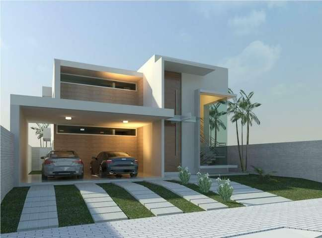 27. Modelos de garagem cobertas para casa grande – Foto Pinterest
