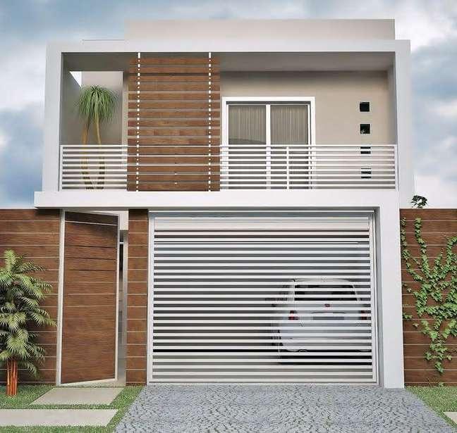 7. Modelos de garagem com portão branco – Foto Pinterest