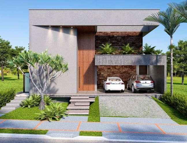 69. Casa com modelos de garagem para dois carros e rampa – Foto Deborah Greco ARquitetura