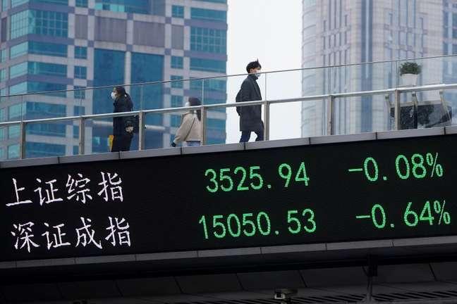 Telão em Xangai mostra flutuações dos mercados acionários 06/01/2021 REUTERS/Aly Song