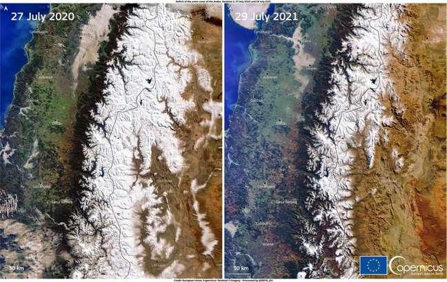 Uma combinação de imagens, obtidas por um dos satélites Copernicus Sentinel-3, nos dias 27 de julho de 2020 e 29 de julho de 2021 mostra o menor volume de neve que afeta a cordilheira dos Andes DG DEFIS/Divulgação via REUTERS