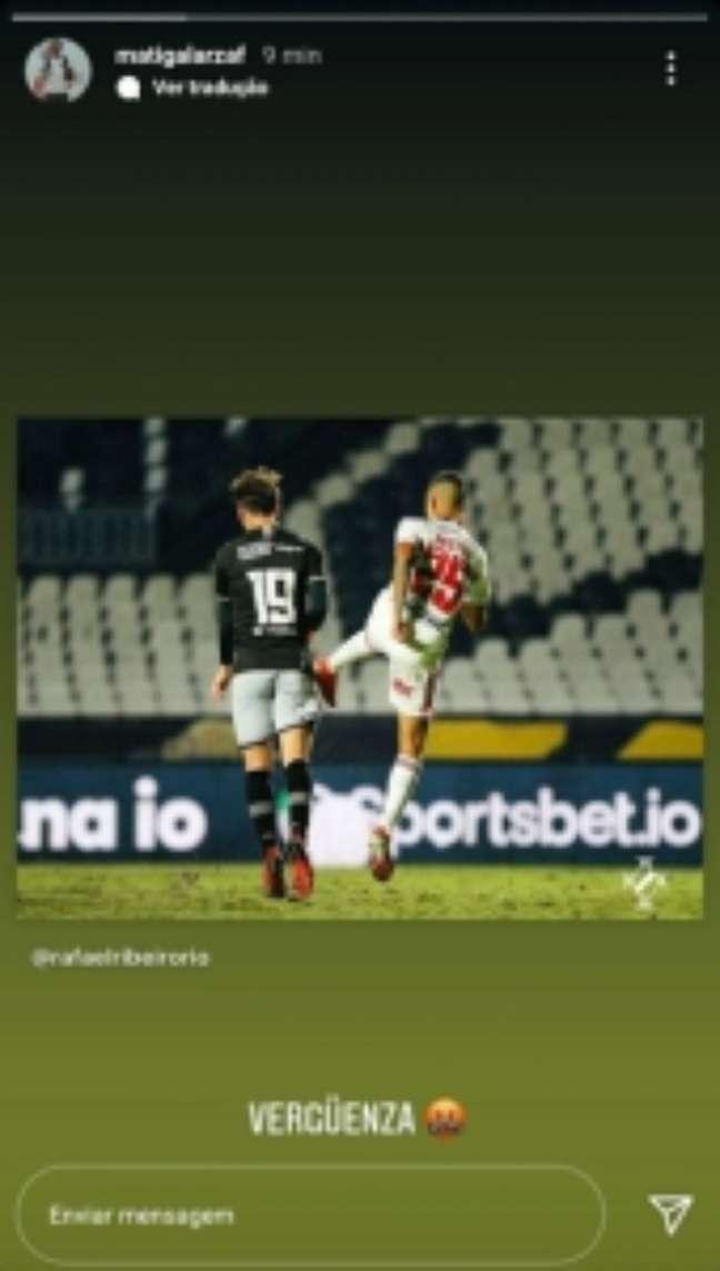 Galarza critica arbitragem de Daronco (Reprodução/Instagram Galarza)