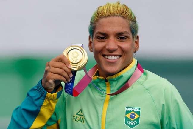 Ana Marcela Cunha conquistou a medalha de ouro na maratona aquática 10km nos Jogos Olímpicos de Tóquio (Foto: Satiro Sodré/CBDA)