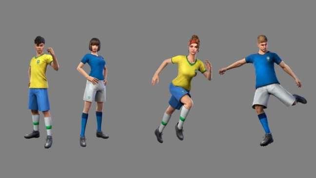 Skins da Seleção Brasileira de Futebol em Free Fire