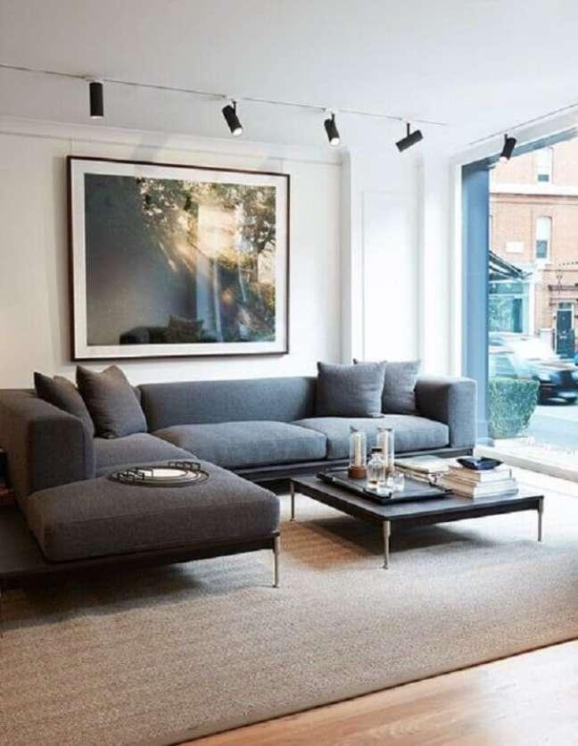 54. Sofá moderno para decoração sala cinza e branco – Foto: SoLebIch