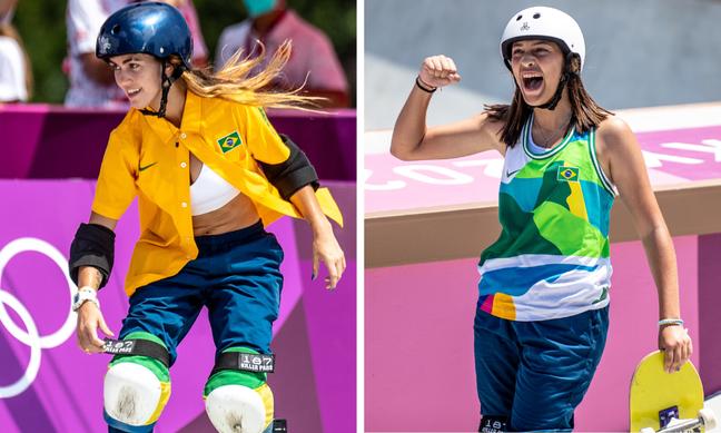 Yndiara Asp e Isadora Pacheco com alguns dos uniformes do Brasil (Fotos: Miriam Jeske/COB/Divulgação)