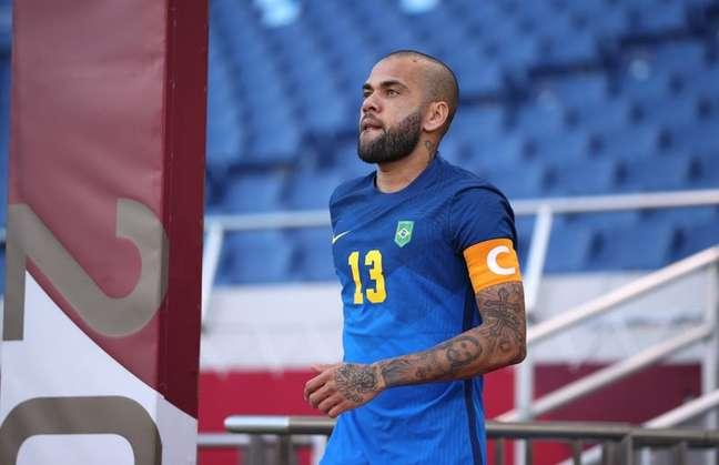 Daniel Alves durante partida entre Brasil e Arábia Saudita pelo torneio de futebol masculino da Olimpíada de Tóquio 28/07/2021 REUTERS/Molly Darlington
