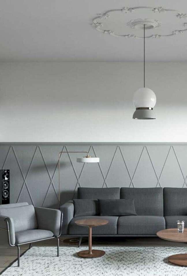 19. Decoração de sala pintada de cinza e branco com luminária moderna – Foto: Pinterest