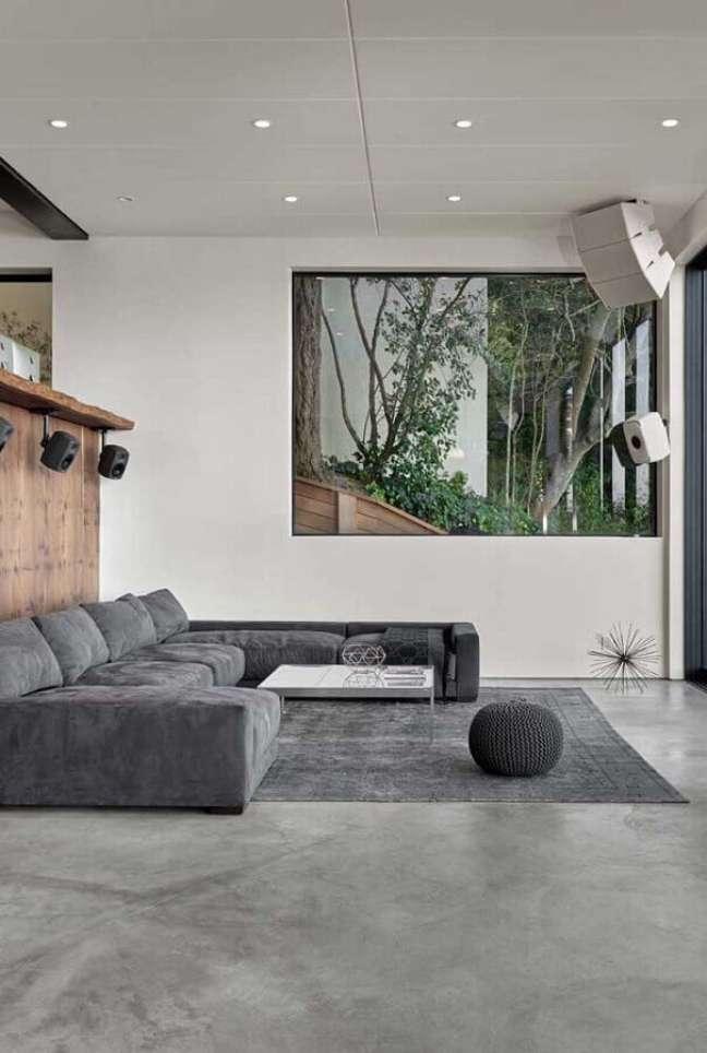 55. Sofá modular para decoração de decoração sala cinza e branco moderna – Foto: Ideias Decor
