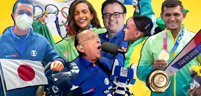 Guilherme Pereira,RayssaLeal, Galvão Bueno, Everaldo Marques, Rebeca Andrade eIsaquiasQueiroz: jornalistas e atletas tiveram momentos grandiosos na transmissão da Olimpíada